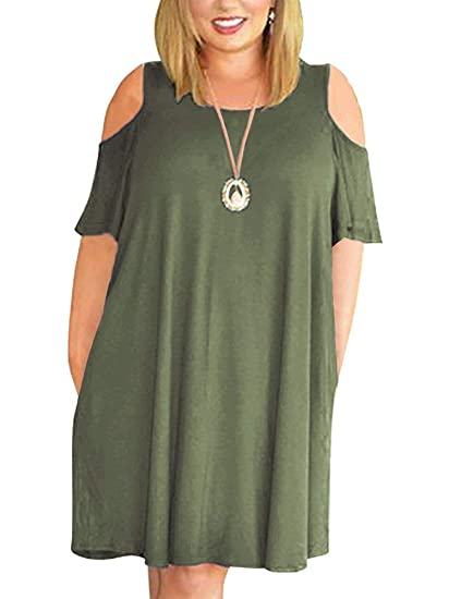 32495b0f2bc Kancystore Women Plus Size Dresses Short Sleeve Cold Shoulder Casual  T-Shirt Swing Dress with Pockets
