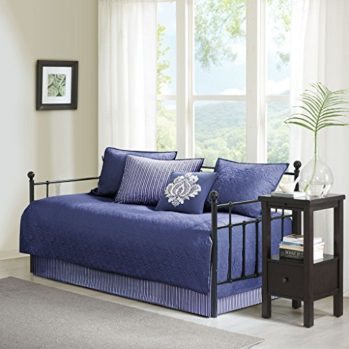 Madison Park Quebec Daybed Size Quilt Bedding Set - Navy, Damask – 6 Piece Bedding Quilt Coverlets – Ultra Soft Microfiber Bed Quilts Quilted Coverlet