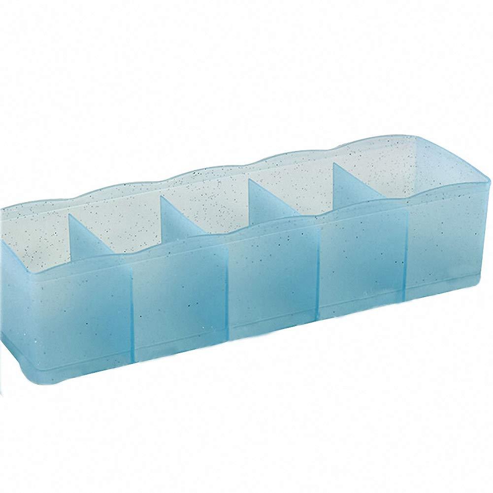 Binwwede Closet Storage Box 5 Grids Plastic Drawer Dividers for Socks Underwear Organizer (Clear Blue)