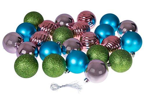 Christmas Ornaments Variety Set | Blue, Pink, Green Christmas Decor Theme | 24 Pack | Glitter, Gloss, & Mirror Ball Textures Shatter Resistant Plastic | 60mm Round (Light Green Ball Ornament)