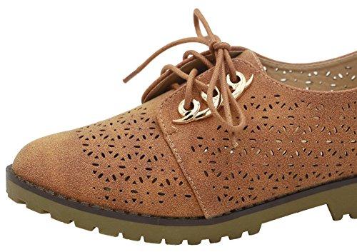 de Redonda camello Mini Cordones Tacón Salón AgeeMi Mujeres Puntera Sólido Shoes cZCUq6P1