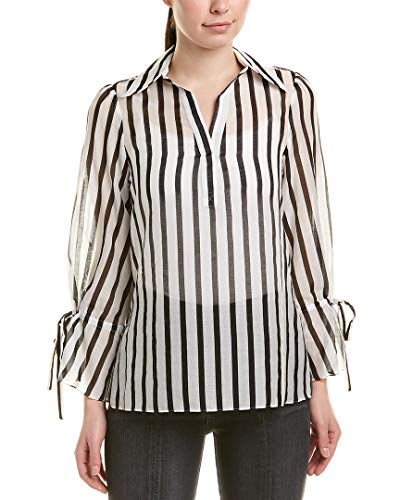 Alice + Olivia Womens Silk-Blend Blouse, Xs, White ()