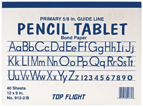 Top Flight Manuscript/Chart Primary Tablet, White Bond Paper, 5/8 Inch Guideline Rule, 9 x 12 Inches, 40 Sheets (54371)