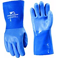 Guantes recubiertos de PVC para trabajo pesado, resistentes a líquidos /químicos, forro de algodón, grandes (Wells Lamont 174L)