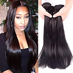 MYHAIRBUY 8A Brazilian Virgin Human Hair Weave 4 Bundles Straight, Cheap Raw Peruvian Remy Hair Extensions wholesale price, Buy Real Indian Natural black/brown Color Hair Deals (12 14 16 18 inch)
