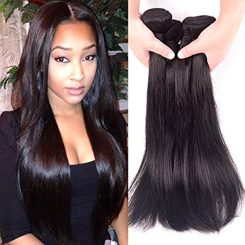 MYHAIRBUY 8A Brazilian Virgin Human Hair Weave 3 Bundles Straight, Cheap Unprocessed Peruvian Remy Hair Extensions wholesale price, Buy Real Indian Natural Color Hair Weft Deals (14 16 18 inch)