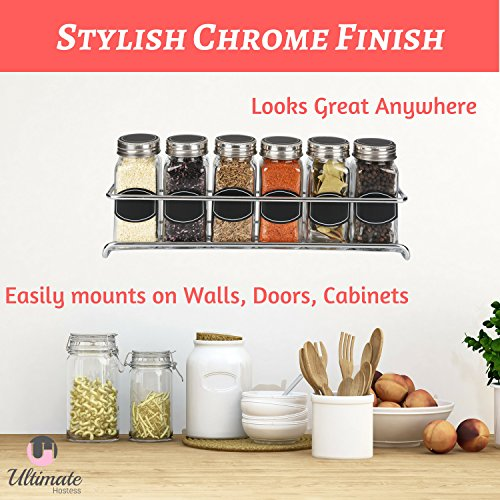 Spice Rack Organizer for Cabinet, Door Mount, or Wall Mounted - Set of 4 Chrome Tiered Hanging Shelf for Spice Jars - Storage in Cupboard, Kitchen or Pantry - Display bottles on shelves, in cabinets by Ultimate Hostess (Image #4)