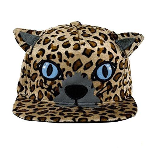 [Girls' cat ear hip-hop flat-brimmed hat adjustable baseball cap (Brown)] (Baseball Girl Costume)