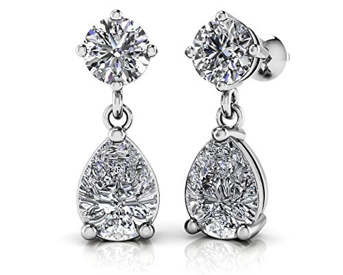 2.00 ct Ladies Round and Pear Shaped Drop Earrings (Color G Clarity SI-1) in 14 karat White Gold ()