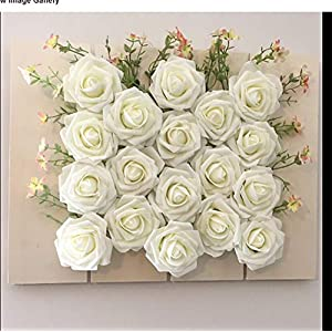 Lmeison Artificial Flower Rose 50pcs Ivory Real Looking Artificial Roses w/Stem for Bridal Wedding Bouquets Centerpieces Baby Shower DIY Party Home Decor, Ivory 4
