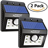 UPGRADED Morvat Outdoor Solar Powered Motion Sensor Flood Light – 8 Super Bright LEDs | Waterproof, Wireless, Wide Angle Illumination – Security Lighting for Outdoor Areas: Driveway, Yard, 2 pack