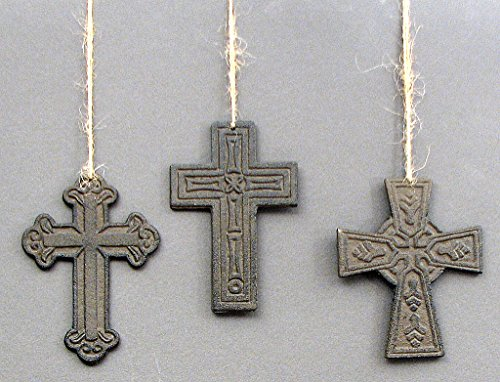 Set of 3 Small Cast Iron Cross Wall Hanging Plaque Decorative Wall Art (Small Cross Ornament)