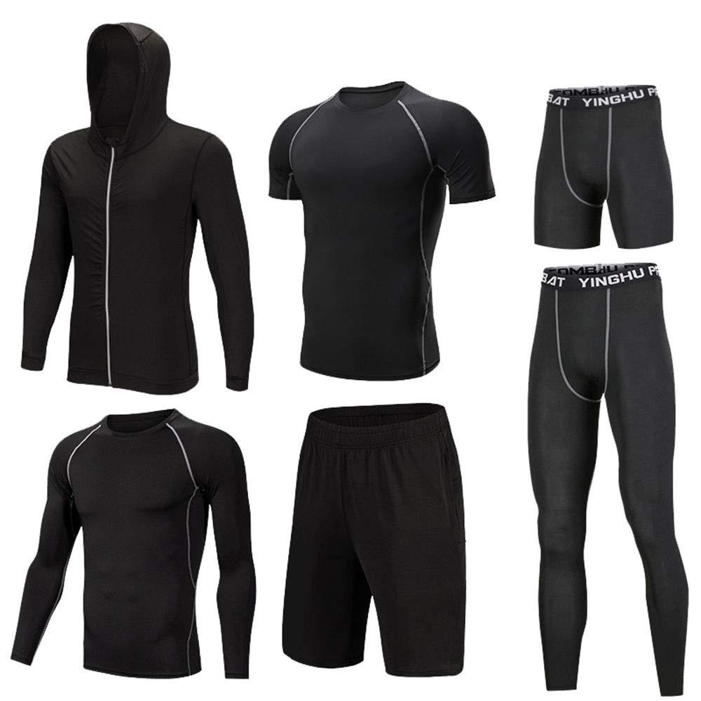 Gym Wear Fitness Bekleidung Set 6-tlg. Schnelltrocknend für Herren Sport-Set mit Outwear, langärmliges Kompressionshemd, eng anliegende Kompressionshose, kurzärmliges Kompressionshemd, lose Shorts, en