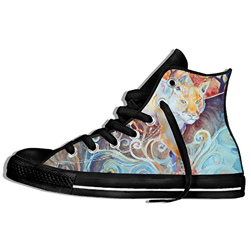 Classic High Top Sneakers Canvas Zapatos Antideslizante Sun Panther Casual Walking Para Hombres Mujeres Negro