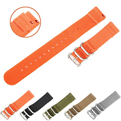 Chronograph Orange Alligator (Easy Replacement Watch Bands, Boonix Quick-Change Ballistic Nylon Band for Men & Women [20mm Orange])