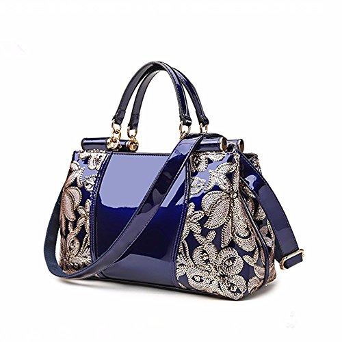 2018 moda de las Azul Nuevo bolso cuero de seoras de Azul Tnpww8qOX