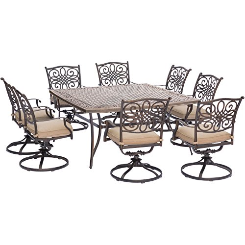 Hanover Traditions 9 Piece Square Dining Set with Swivel Dining Chairs and a Large Dining Table, 60 x 60