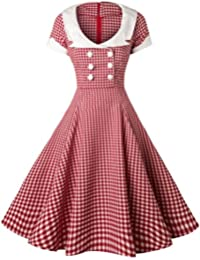 Women1950s Printed -Dot-Floral Splicing Party Swing Dress