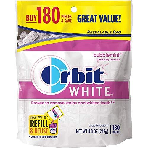 Orbit Chewing Gum - Orbit White Bubblemint Sugarfree Gum, 180 piece refill bag