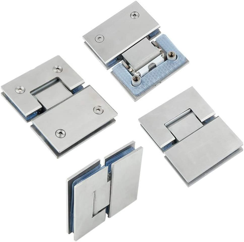 Fdit 180 Degree Stainless Steel Glass Door Hinge Punch-Free Double Open Glass Clamp Clip Bracket Cupboard Showcase Cabinet Clamp Glass Shower Doors