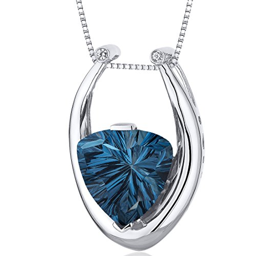 Concave Trillion Cut 7.00 carats Sterling Silver Rhodium Finish London Blue Topaz ()