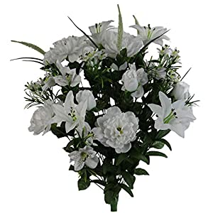 Admired By Nature ABN1B001-WHT 40 Stems Artificial Full Blooming Lily, Rose Bud, Carnation and Mum with Greenery Mixed Flower Bush, White, 12