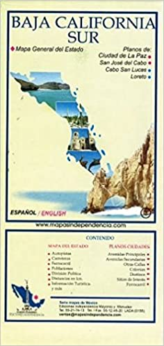 Baja California Sur Mexico State And Major Cities Map Spanish