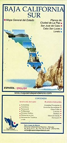 Baja California Sur, Mexico, State and Major Cities Map (Spanish ...