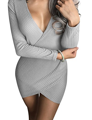 Mini Playworld Party V Dress Bodycon Grey Evening Neck Wrap Women's rRpax0rq