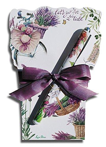 Lissom Design Die-Cut Flowerpot Notepad Set, 6.75 x 4.5-Inches, Lavender Allure