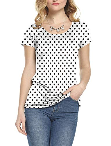 (Amoretu Women's Dot Basic T-Shirts Short Sleeve Scoop Neck Top for Summer(Polka Dot,S))