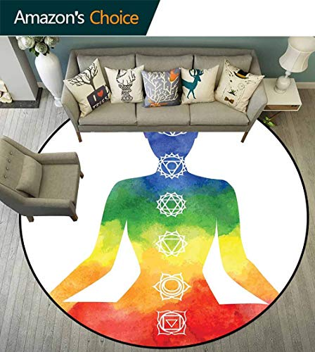 Yoga Round Rug Solid,Silhouette Yoga Woman with Chakra Symbols Vibrant Watercolors Padmasana Chakra Signs for Hallway,Multicolor,D-47 ()