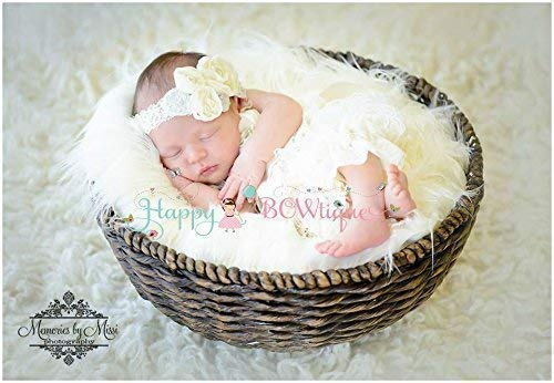 b5583a42470f Image Unavailable. Image not available for. Color  2pcs Newborn Vintage  Ivory Petti Lace Romper ...