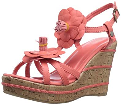 Wanted Shoes Women's Daisy Wedge Sandal,Coral,6 M US
