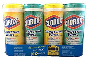 Clorox Disinfecting Disposable Cleaning Wipes Multipack: 2 Citrus Blend Canisters of 35 Wipes & 2 Fresh Scent Canisters of 35 Wi