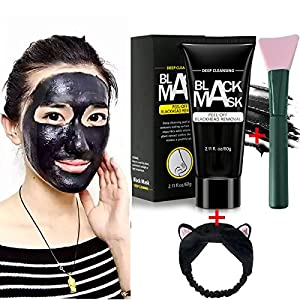 Blackhead Remover Mask, Face Mask, Blackhead Mask, Blackhead Peel Off Mask, Black Mask Blackhead Remover Deep Cleaning Facial Mask for Face Nose 60g with Headband and Silicone Mask Brush