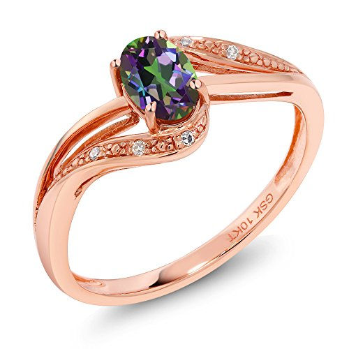 Gold Mystic Topaz Ring - 10K Rose Gold 0.54 Ct Green Mystic Topaz and Diamond Women's Engagement Bypass Ring (Bypass Ring Size 6)