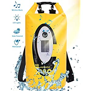 Floating Dry Bag Submersible Waterproof, with Bluetooth Speaker Solar Light – 20L Roll Top Dry Sack Keeps Gear Dry for Men Women Kayaking, Beach, Rafting, Boating, Hiking, Camping and Fishing