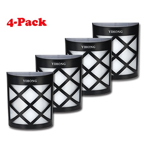 Solar Fence Lights Wall Mount YIHONG LED Garden Light Lamp Outdoor Lightings For Deck Post Stairs Steps Gutter...