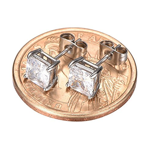 LIEBLICH-Womens-Princess-Cut-Cubic-Zirconia-Stainless-Steel-Earrings-Studs-Plated-White-Gold-3mm-8mm-6-Pairs