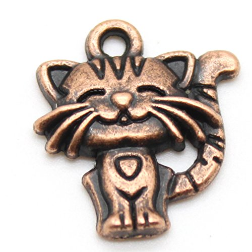 6 Kitten Charms / Pendants - for DIY Jewelry & Crafts Tibetan Silver Alloy - Choose Color (Copper) - Kitty Charm Pendant