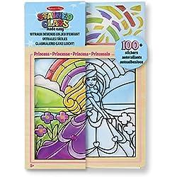 Melissa & Doug Stained Glass Made Easy Princesa - Kit de Manualidades Hacer Vitrales - 100 Pegatinas, Marco de Madera