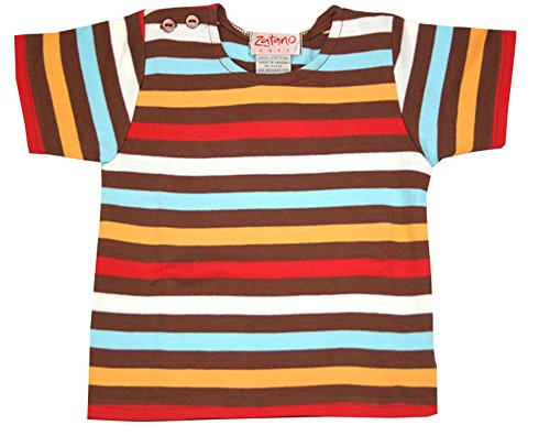 Zutano Chocolate 5 Color Stripe Short Sleeve T-shirt 0-6 months