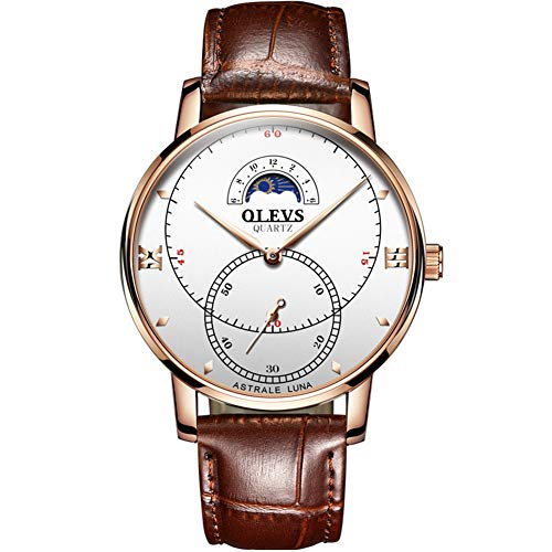 Luxury Watches for Men Waterproof Watch Men Classic Business Style Analogue Quartz Watch Rose Gold with White dial Brown Genuine Leather Strap G5874PZ-MB ()