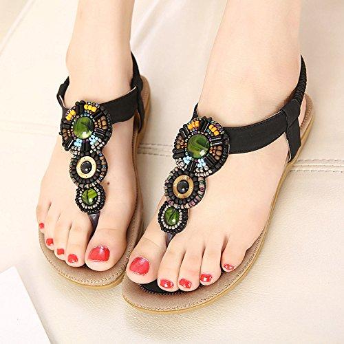 Chfso Mujeres New Bohemian Flip Flops Correa De Tobillo Pisos Sandalias Zapatos Negro
