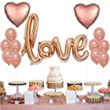 Rose Gold Love Balloons Set - Kicpot 13 Pack Foil Heart Balloons for Wedding Valentines Day Decoration Happy Birthday Balloons Party Supplies