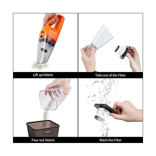 Fitiger Car Vacuum Cleaner Handheld Portable Mini Dry Wet Vacuum Cleaner Amphibious Car Vacuum 12v Orange