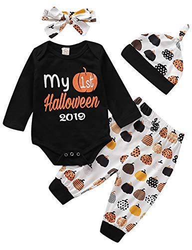 Dramiposs Newborn Baby Girl My 1st Halloween Bodysuit Pumpkin Costume Outfit Pant Clothing Set (Black,3-6 ()
