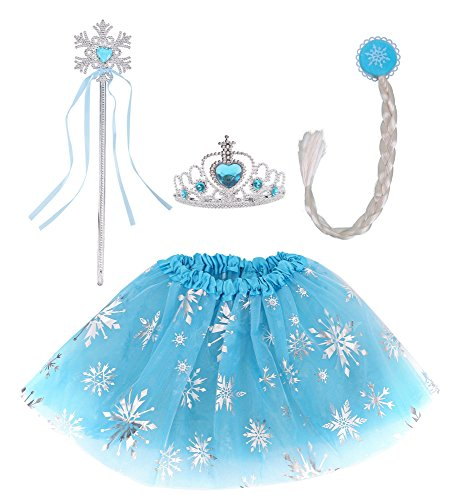 Spooktacular Costume Wing Set Party Dress for Girls with Tutu Wand Headband, Blue]()