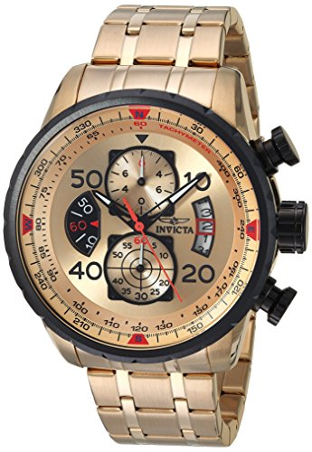 Invicta Men's 17205 AVIATOR 18k Gold Ion-Plated Watch (Watch Plated Round)